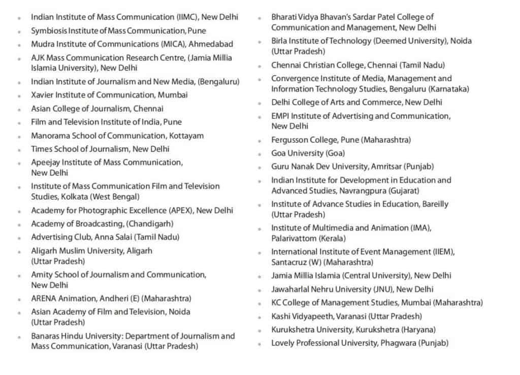 LIST OF MASS COMMUNICATION & JOURNALISM COLLEGES