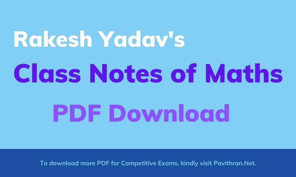 Rakesh Yadav Class Notes of Maths PDF Download
