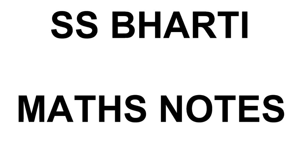 SS Bharti Maths Class Notes PDF